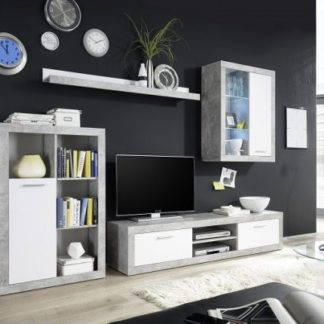 Tempo Kondela Obývací stěna KLARK - bílá / beton + kupón KONDELA10 na okamžitou slevu 3% (kupón uplatníte v košíku)