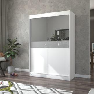 Šatní skříň s posuvnými dveřmi bílá 150 cm
