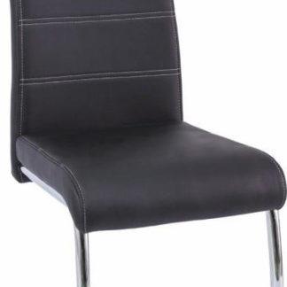 Tempo Kondela Židle Abira New - černá / světlé šití + kupón KONDELA10 na okamžitou slevu 3% (kupón uplatníte v košíku)