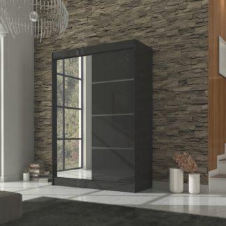 Černá šatní skříň s posuvnými dveřmi 150 cm