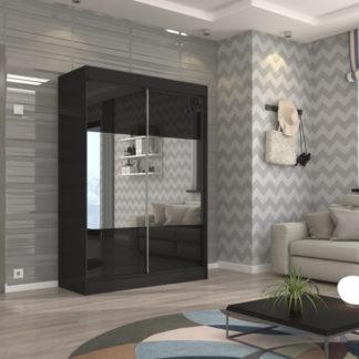 Černá zrcadlová skříň s posuvnými dveřmi 150 cm