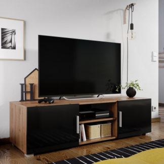 Casarredo Televizní stolek JERSEY dub artisan/černý lesk