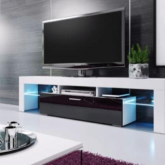 Casarredo Televizní stolek VERA MINI 138 bílá/černá vysoký lesk
