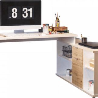 Tempo Kondela Psací stůl DALTON 2 NEW VE 02 - bílá/dub wotan + kupón KONDELA10 na okamžitou slevu 3% (kupón uplatníte v košíku)