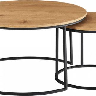Tempo Kondela Set dvou konferenčních stolků IKLIN - dub/černý + kupón KONDELA10 na okamžitou slevu 3% (kupón uplatníte v košíku)
