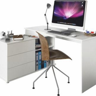 Tempo Kondela Univerzální rohový PC stůl TERINO - bílá + kupón KONDELA10 na okamžitou slevu 3% (kupón uplatníte v košíku)