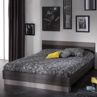 Idea Postel GRAPHIC 160x200 - tmavý dub/šedá