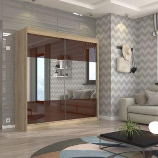 Šatní skříň dub sonoma s hnědými zrcadlovými dveřmi 200 cm