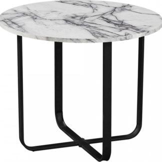 Tempo Kondela Konferenční stolek SALINO - bílý mramor/černý kov + kupón KONDELA10 na okamžitou slevu 3% (kupón uplatníte v košíku)