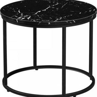 Tempo Kondela Konferenční stolek GAGIN - černý mramor/černý kov + kupón KONDELA10 na okamžitou slevu 3% (kupón uplatníte v košíku)