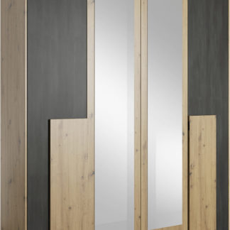 Tempo Kondela Skříň se zrcadlem BAFRA 4D - dub artisan/černá borovice norská + kupón KONDELA10 na okamžitou slevu 3% (kupón uplatníte v košíku)