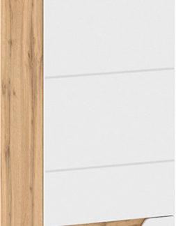 Tempo Kondela Skříň Vinco V2 - dub Wotan/bílá extra vysoký lesk HG