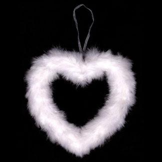 Autronic Bílé srdce z peří AK1902-WH