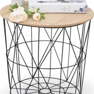 Halmar Odkládací stolek Mariffa - deska přírodní/podnož černá