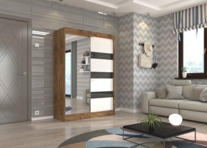 Skříň dub craft s černo-bílými dveřmi a zrcadlem 150 cm Toledo