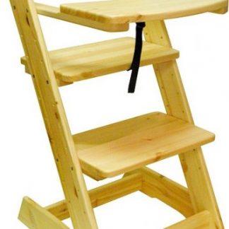 ATAN Dětská rostoucí židle s pultíkem Borovice - surové dřevo