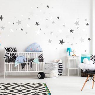 Forclaire Dekorace na zeď - hvězdičky šedá/bílá