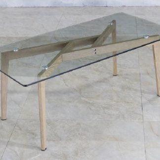 Tempo Kondela Konferenční stolek PEDREK Typ 2 - sklo / kov s úpravou buk + kupón KONDELA10 na okamžitou slevu 3% (kupón uplatníte v košíku)