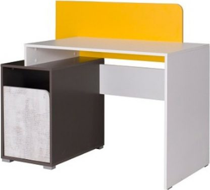 Falco Psací stůl Bruce - bílá/grafit/enigma/žlutá