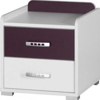 Falco Noční stolek Neymar - bílá/fialový lesk