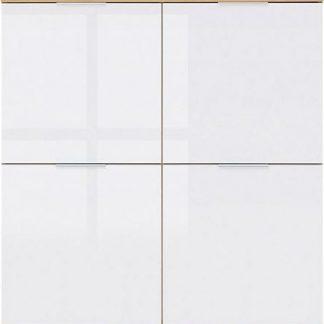 BRW Skříňka Zele KOM4D - dub wotan/bílý lesk
