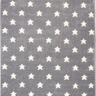 Forclaire Dětský koberec LITTLE STARS stříbrná-šedá/bílá 160x230 cm