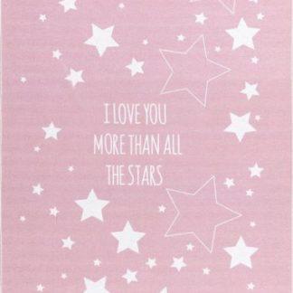 Forclaire Dětský koberec LOVE YOU STARS růžová/bíla 140x190