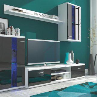 Casarredo Obývací stěna LITE bílá/černý lesk