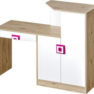 Casarredo Pracovní stůl s komodou NIKO 11 dub jasný/bílá/růžová
