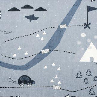 Forclaire Dětský koberec Mapa pokladů modrý 140x190 cm