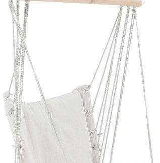 Tempo Kondela Závěsné křeslo VINTO NEW - bavlna / dřevo / bílá + kupón KONDELA10 na okamžitou slevu 3% (kupón uplatníte v košíku)