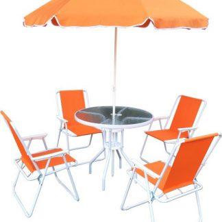 Tempo Kondela Zahradní set ODELO - oranžová / bílá + kupón KONDELA10 na okamžitou slevu 3% (kupón uplatníte v košíku)
