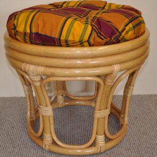 Axin Trading Ratanová taburetka velká medová - polstr okrový