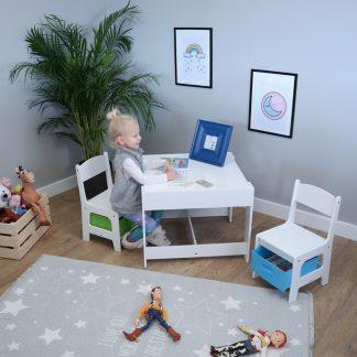 Forclaire Ourbaby dětský stůl s židlemi s modrým a zeleným boxem