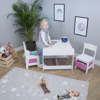 Forclaire Ourbaby dětský stůl s židlemi s růžovými boxy