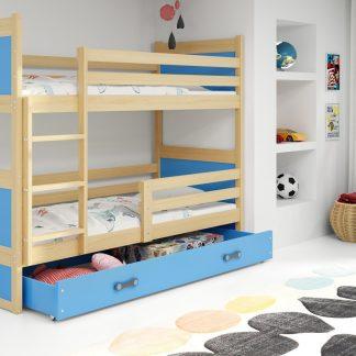 Falco Patrová postel Riky - borovice/modrá
